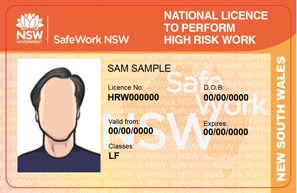 SafeWork NSW HRW Licence Card V5