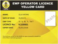 "EWPA ""Yellow Card"" (VL,SL,BL) Only 1 spot available"